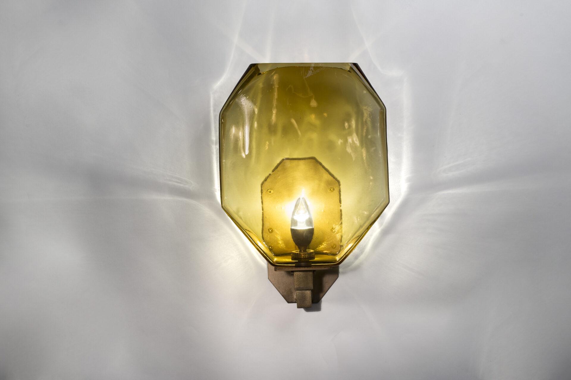 Cast Glass Diamond Wall Sconce Clear